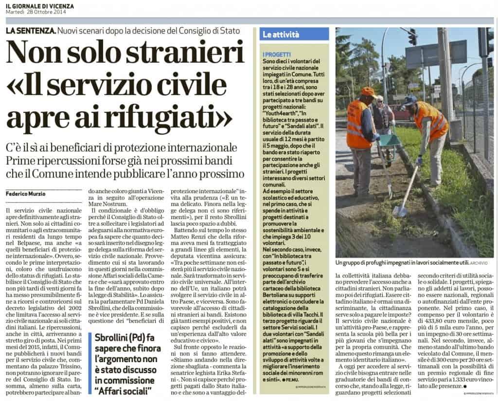 Servizio Civile - Articolo tratto dal Giornale di Vicenza del 28.10.2014