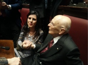 Con Giorgio Napolitano alla Camera per l'elezione del nuovo Presidente della Repubblica