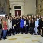 La presidente Boldrini insieme alle studentesse del Liceo Fogazzaro